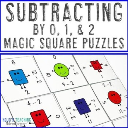 Subtracting by 0, 1, & 2 Magic Square Puzzles