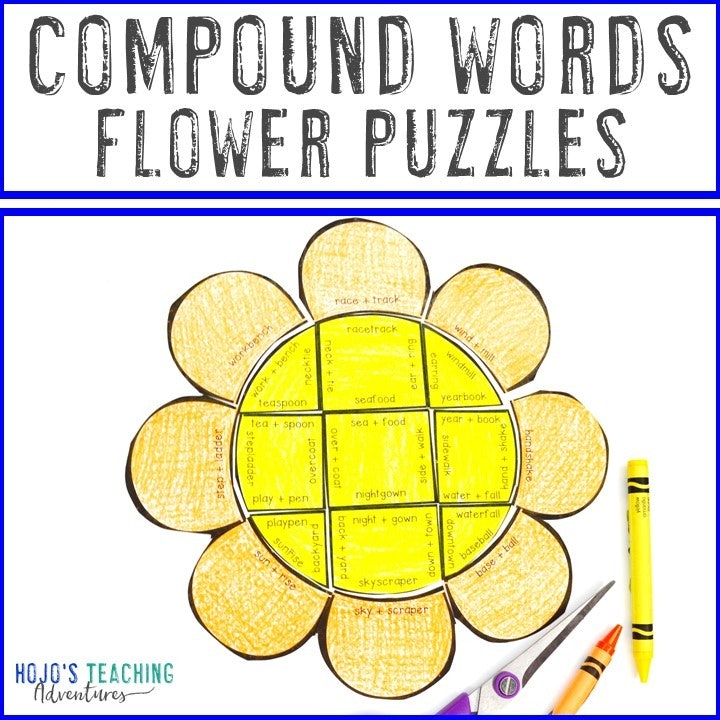 COMPOUND WORDS Flower Puzzles for 3rd, 4th, or 5th Grade