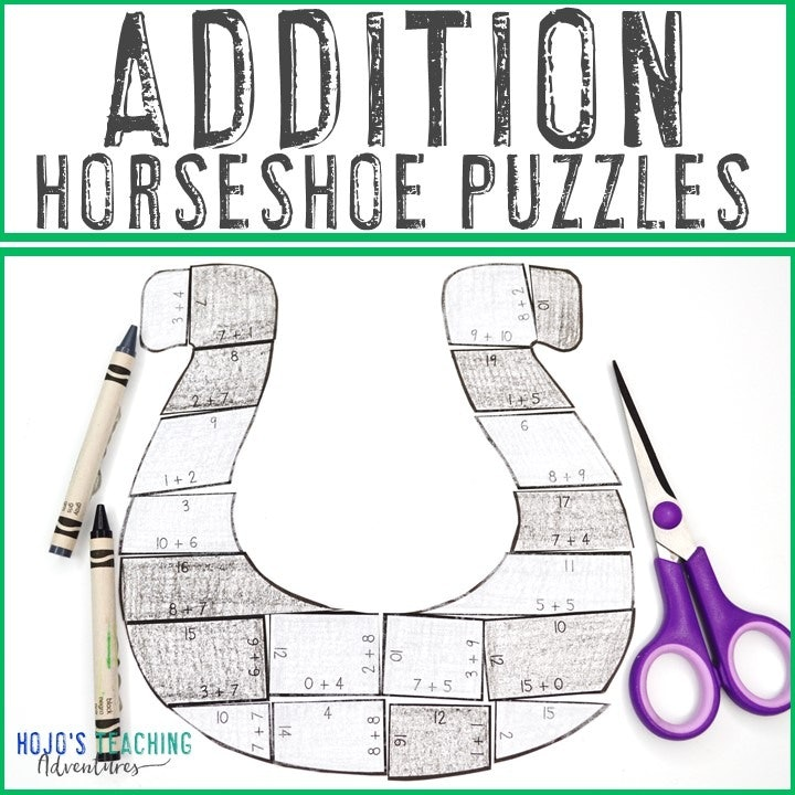 ADDITION Horseshoe Puzzles for 1st, 2nd, or 3rd Grade