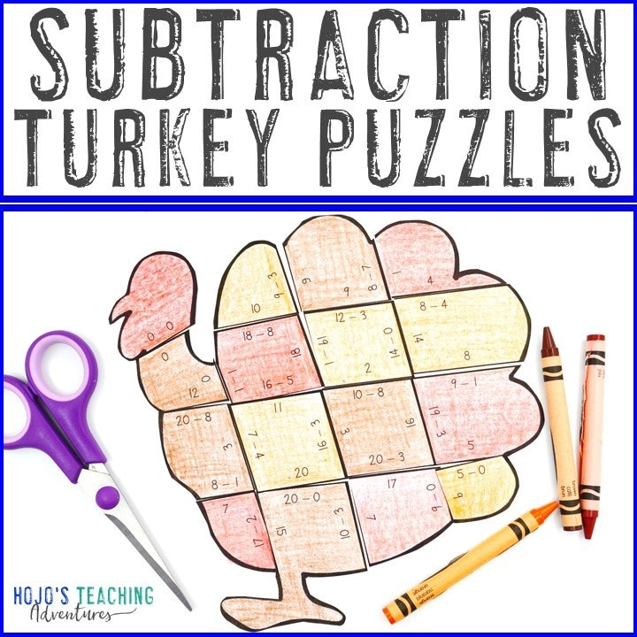 SUBTRACTION Turkey Puzzles for 1st, 2nd, or 3rd Grade Kids