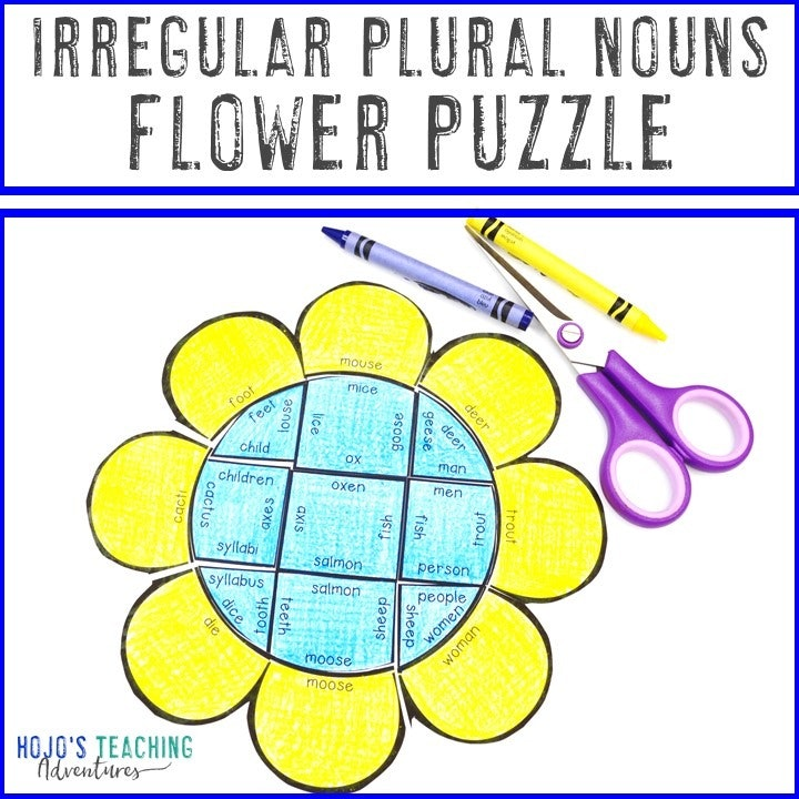 IRREGULAR PLURAL NOUNS Flower Puzzles for 2nd, 3rd, 4th, or 5th Grade