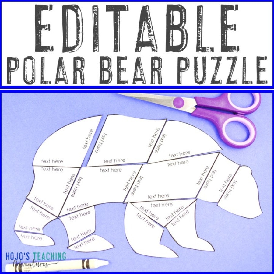 EDITABLE Polar Bear Puzzle for Elementary or Middle School