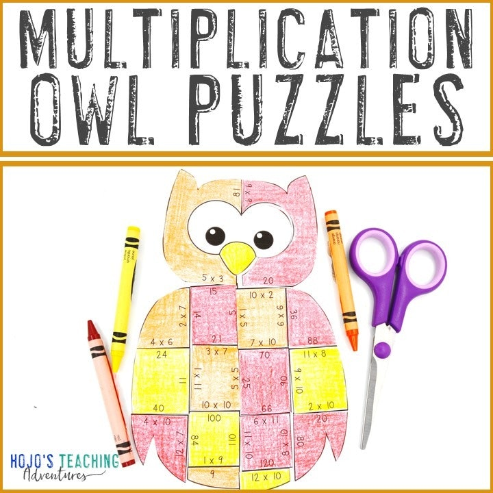 MULTIPLICATION Owl Puzzles for 3rd, 4th, or 5th Grade