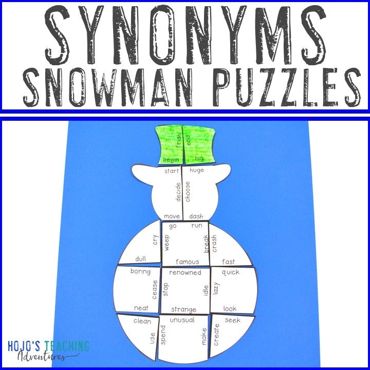 SYNONYMS Snowman Puzzle for 2nd, 3rd, 4th, or 5th Grade