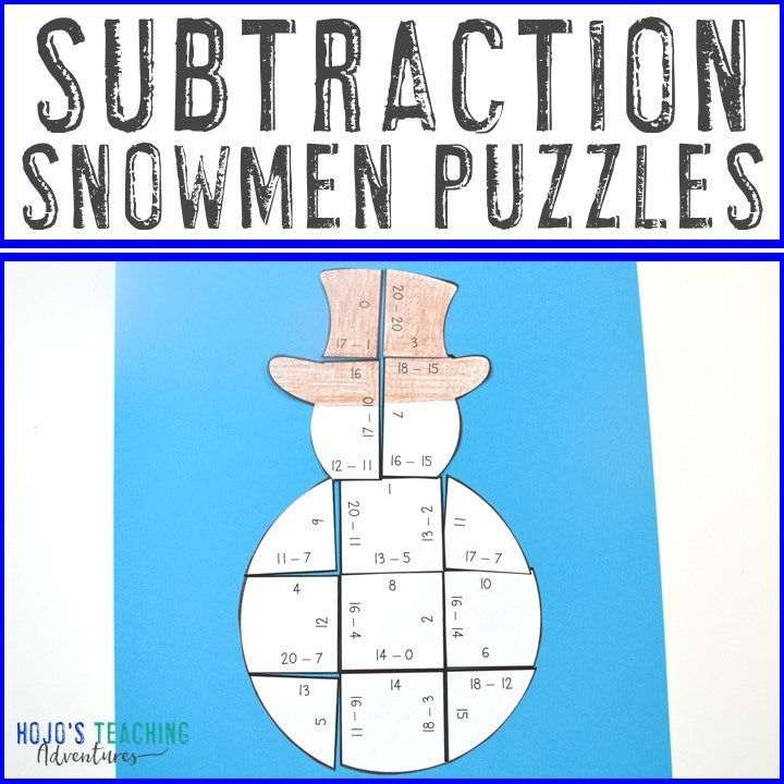 SUBTRACTION Snowman Puzzles for 1st, 2nd, or 3rd Grade