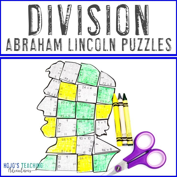 DIVISION President Abraham Lincoln Puzzles for 3rd, 4th, and 5th Grade