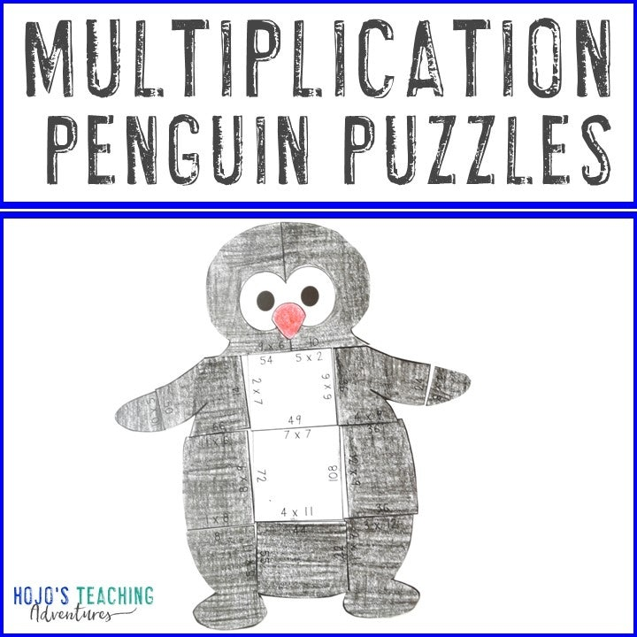 MULTIPLICATION Penguin Puzzles for 3rd, 4th, or 5th Grade