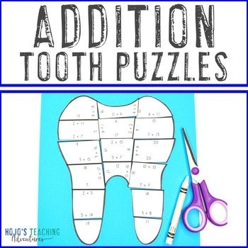 Addition Tooth Puzzles for 1st, 2nd, or 3rd Grade Kids