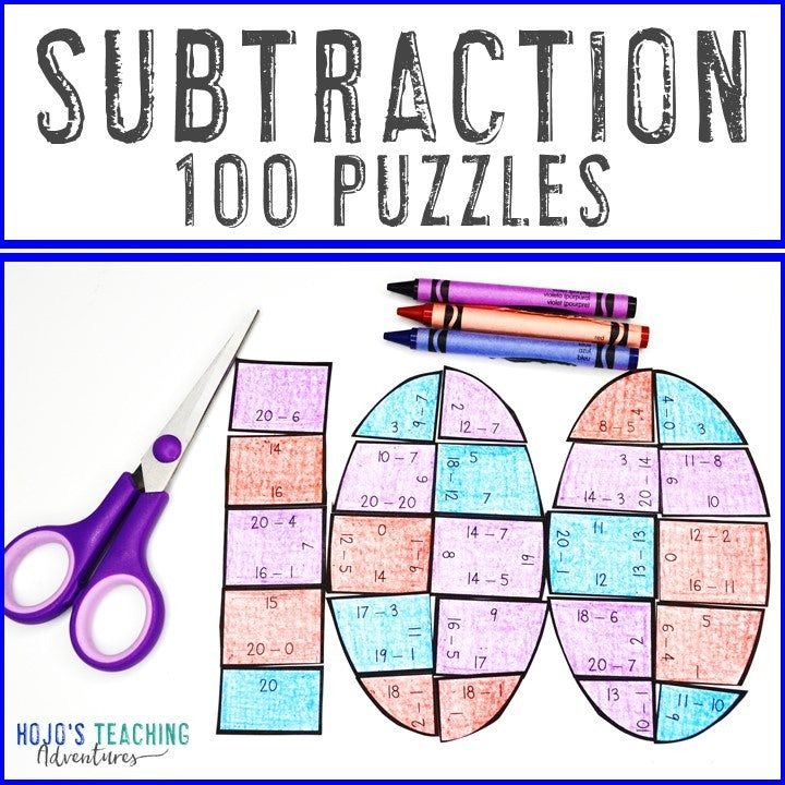 SUBTRACTION 100th Day of School Puzzles for 1st, 2nd, or 3rd Grade