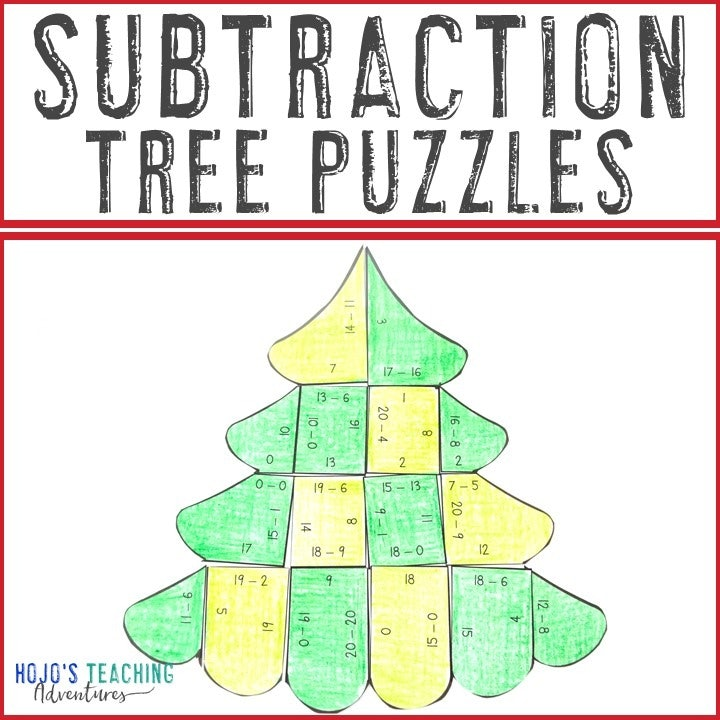 SUBTRACTION Christmas Tree Puzzles for 1st, 2nd, or 3rd Grade