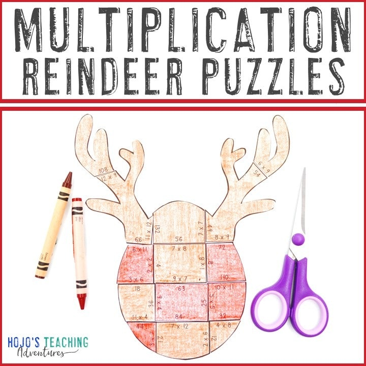 MULTIPLICATION Reindeer Puzzles for 3rd, 4th, or 5th Grade