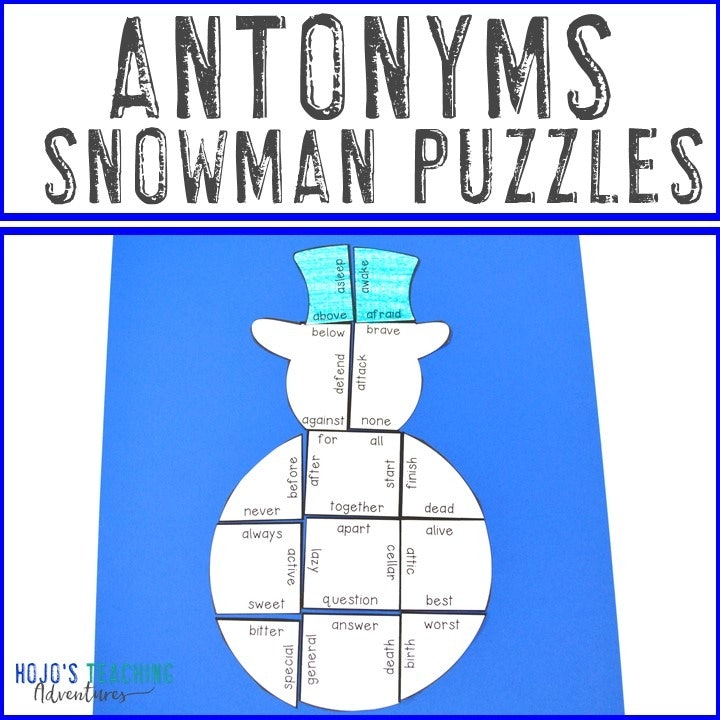 ANTONYM Snowman Puzzles for 2nd, 3rd, 4th, or 5th Grade