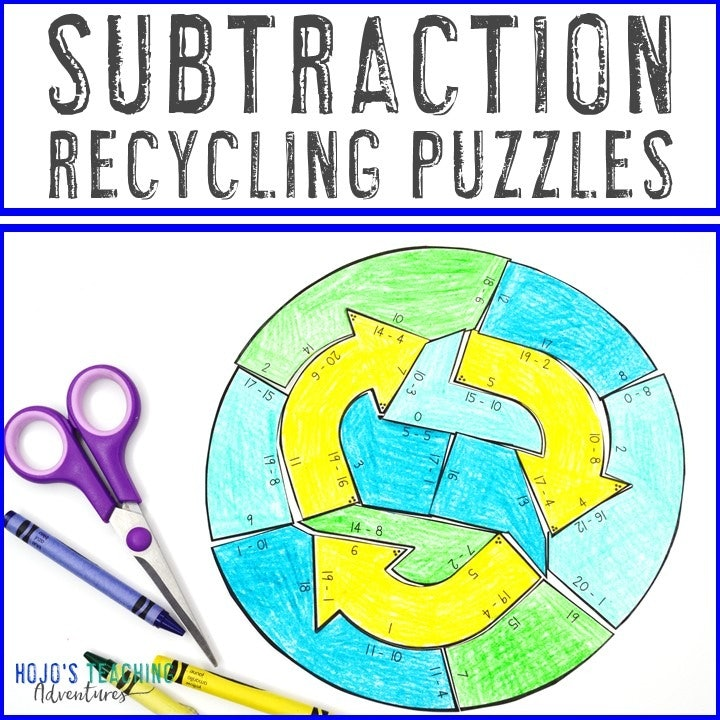 SUBTRACTION Recycling Puzzles for 1st, 2nd, or 3rd Grade