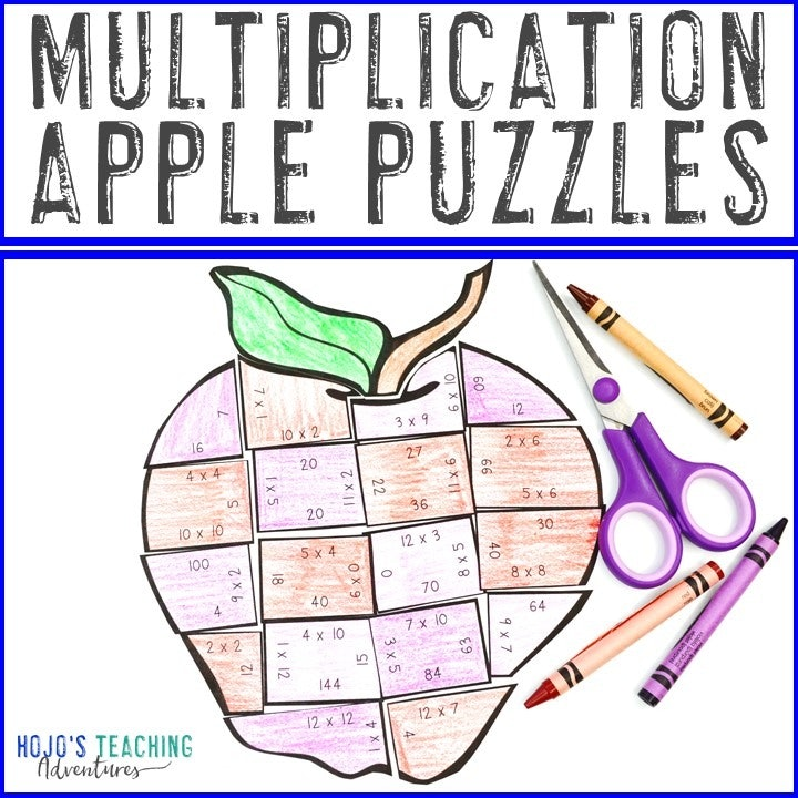 MULTIPLICATION Apple Puzzles for 3rd, 4th, or 5th Grade