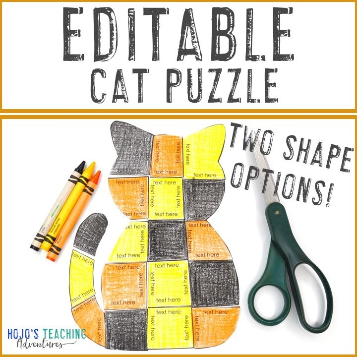 EDITABLE Cat Puzzles for Elementary or Middle School Kids