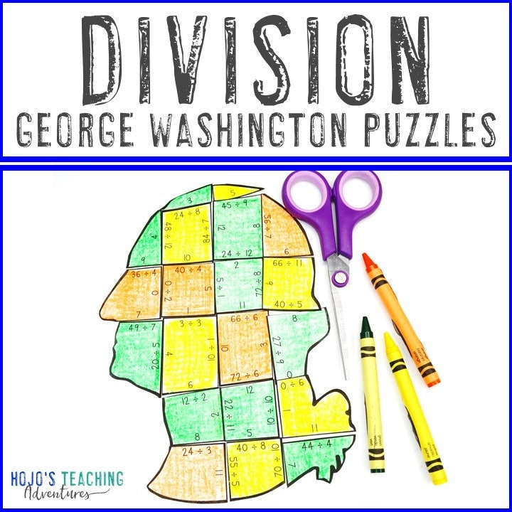 DIVISION President George Washington Puzzles for 3rd, 4th, or 5th Grade