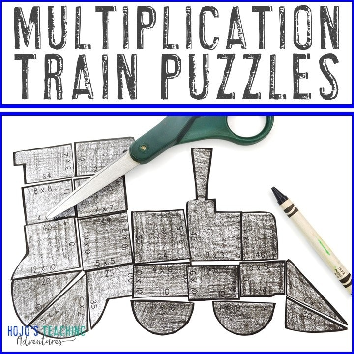 MULTIPLICATION Train Puzzles for 3rd, 4th, and 5th Grade