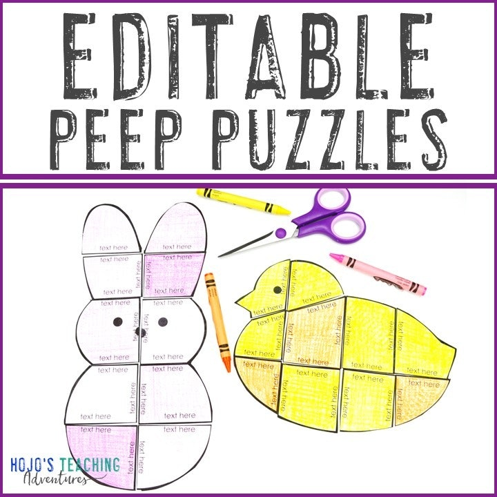 EDITABLE Chick & Bunny Puzzles for Easter
