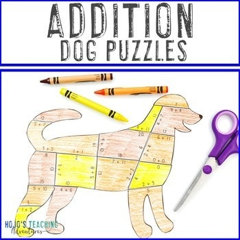 Addition Dog Puzzles for 1st, 2nd, and 3rd Grade