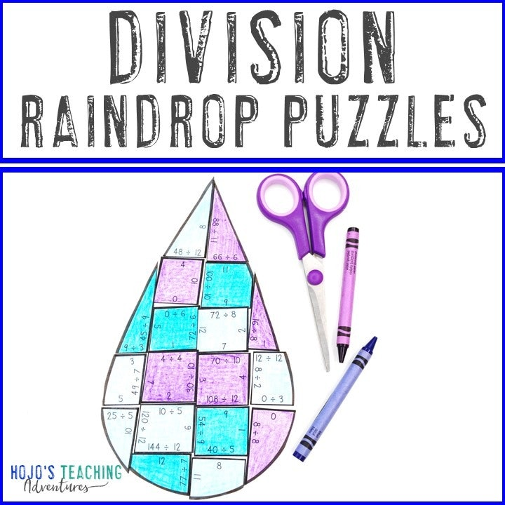 DIVISION Raindrop Puzzles for 3rd, 4th, or 5th Grade