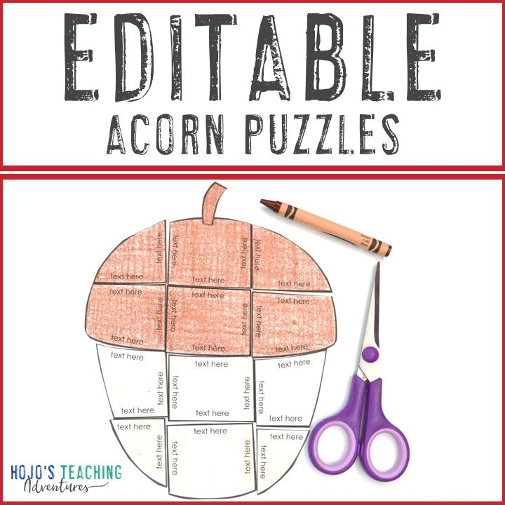 EDITABLE Acorn Puzzles for Elementary or Middle School Kids