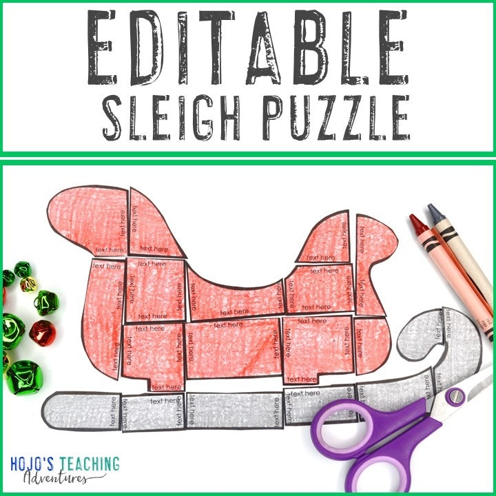 EDITABLE Sleigh Puzzle for Elementary or Middle School Kids