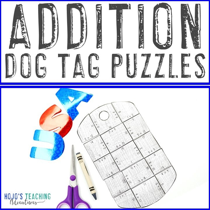 ADDITION Dog Tag Puzzles for 1st, 2nd, or 3rd Grade Kids