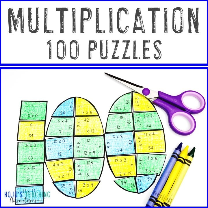 MULTIPLICATION 100th Day of School Puzzles for 3rd, 4th, or 5th Grade