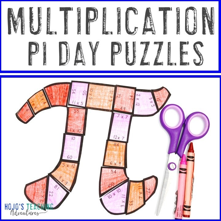 MULTIPLICATION Pi Day Puzzles for 3rd, 4th, or 5th Grade