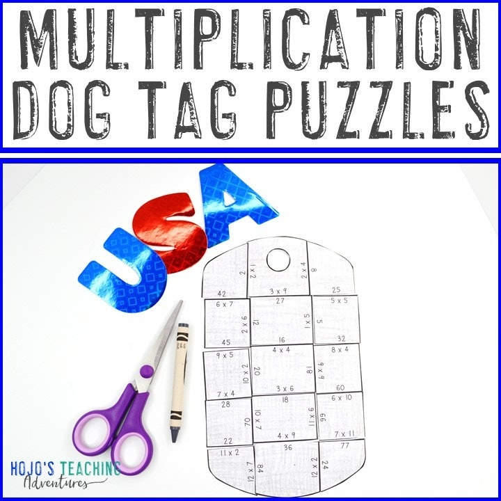MULTIPLICATION Dog Tag Puzzles for 3rd, 4th, or 5th Grade