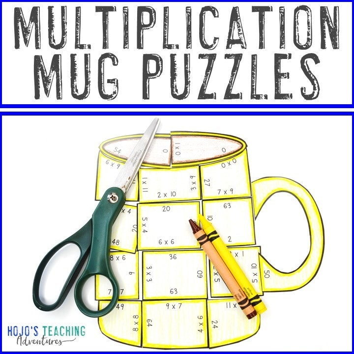 MULTIPLICATION Mug Puzzles for 3rd, 4th, or 5th Grade Kids