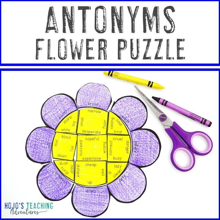 ANTONYMS Flower Puzzle for 2nd, 3rd, 4th, or 5th Grade