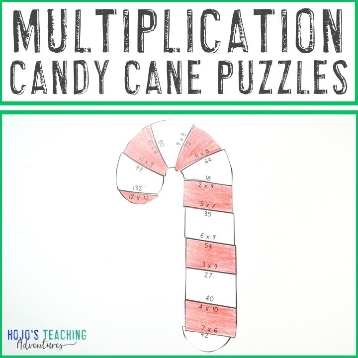 MULTIPLICATION Candy Cane Puzzles for 3rd, 4th, or 5th Grade