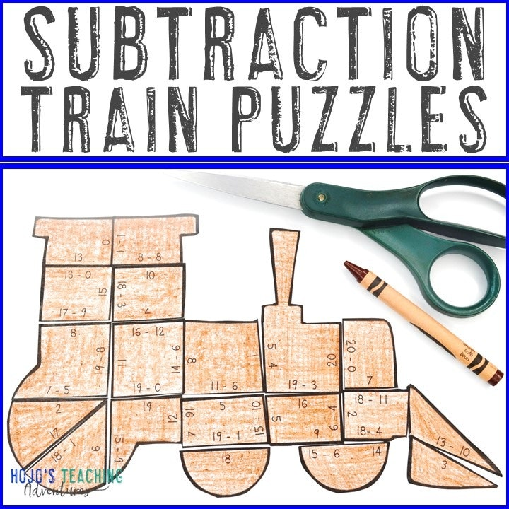 SUBTRACTION Train Puzzles for 1st, 2nd, or 3rd Grade
