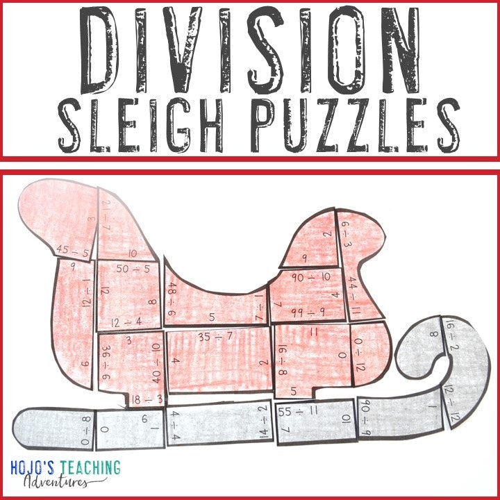 DIVISION Sleigh Puzzles for 3rd, 4th, or 5th Grade