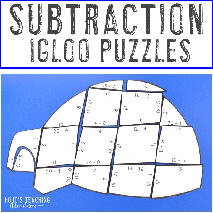 SUBTRACTION Igloo Puzzles for 1st, 2nd, or 3rd Grade