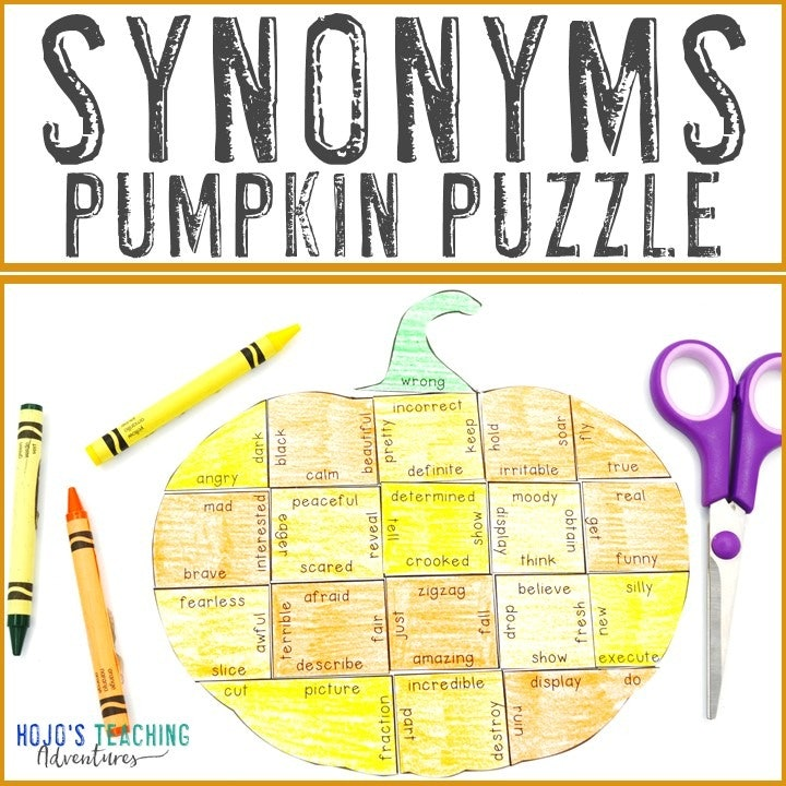 SYNONYMS Pumpkin Puzzle for 2nd, 3rd, 4th, or 5th Grade