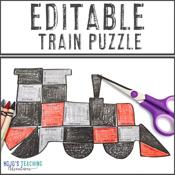 EDITABLE Train Puzzle for Elementary or Middle School Kids