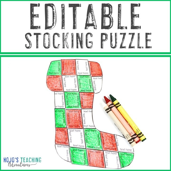 EDITABLE Stocking Puzzles for Elementary or Middle School Kids