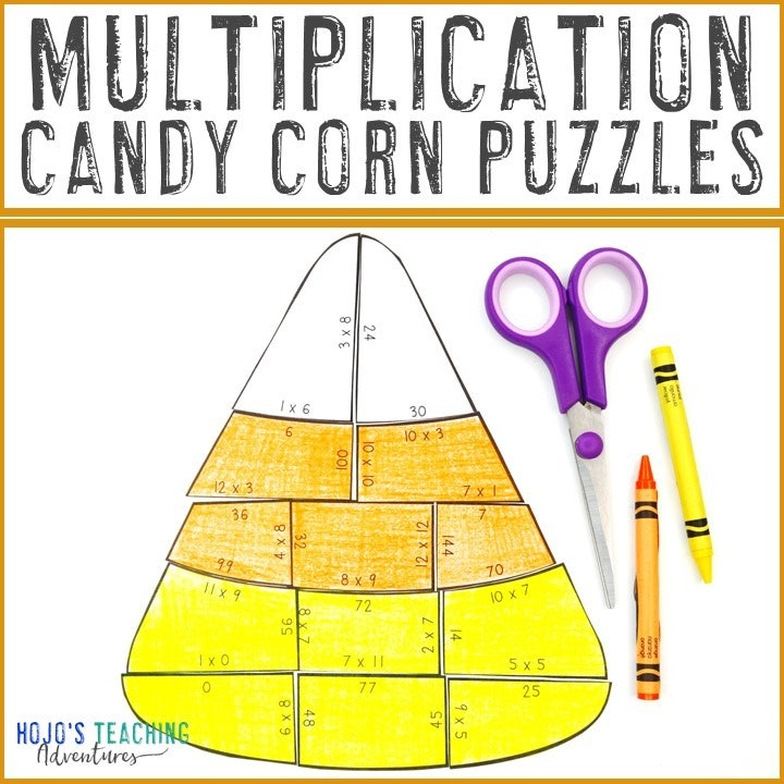 MULTIPLICATION Candy Corn Puzzles for 3rd, 4th, or 5th Grade