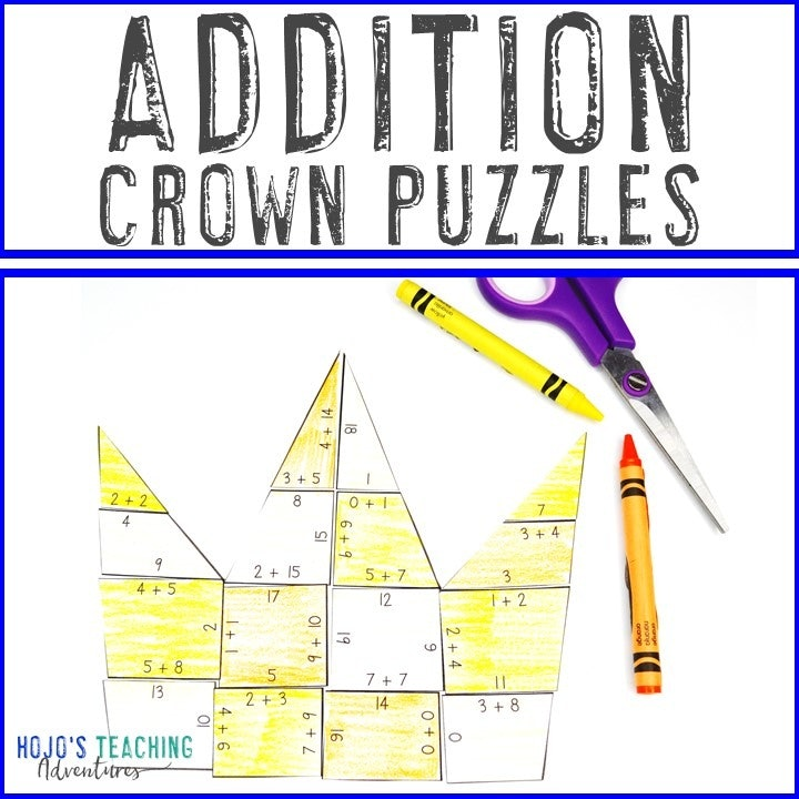 ADDITION Crown Puzzles for 1st, 2nd, or 3rd Grade
