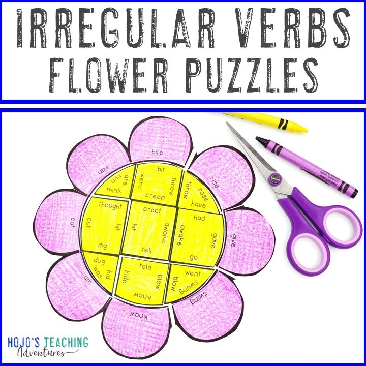 IRREGULAR VERBS Flower Puzzles for 2nd, 3rd, 4th, 5th, or 6th Grade