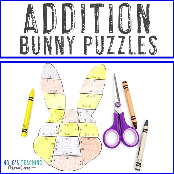 ADDITION Bunny Puzzles for 1st, 2nd, or 3rd Grade