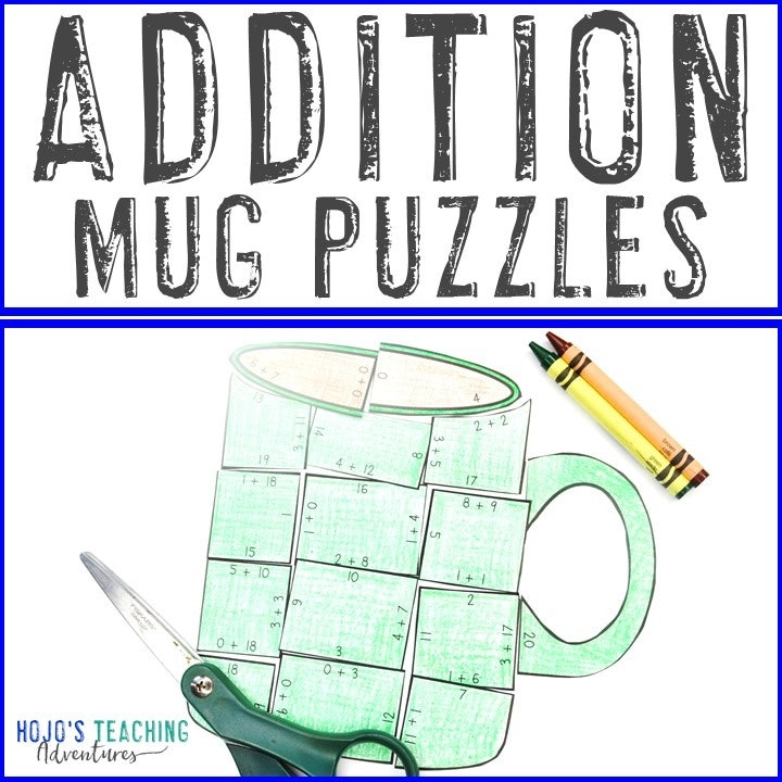 ADDITION Mug Puzzles for 1st, 2nd, & 3rd Grade Kids