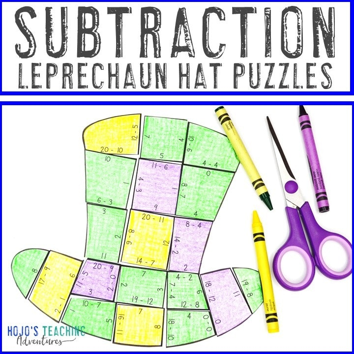 SUBTRACTION Leprechaun Hat Puzzles for 1st, 2nd, or 3rd Grade