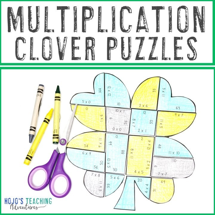 MULTIPLICATION Clover Puzzles for 3rd, 4th, or 5th Grade