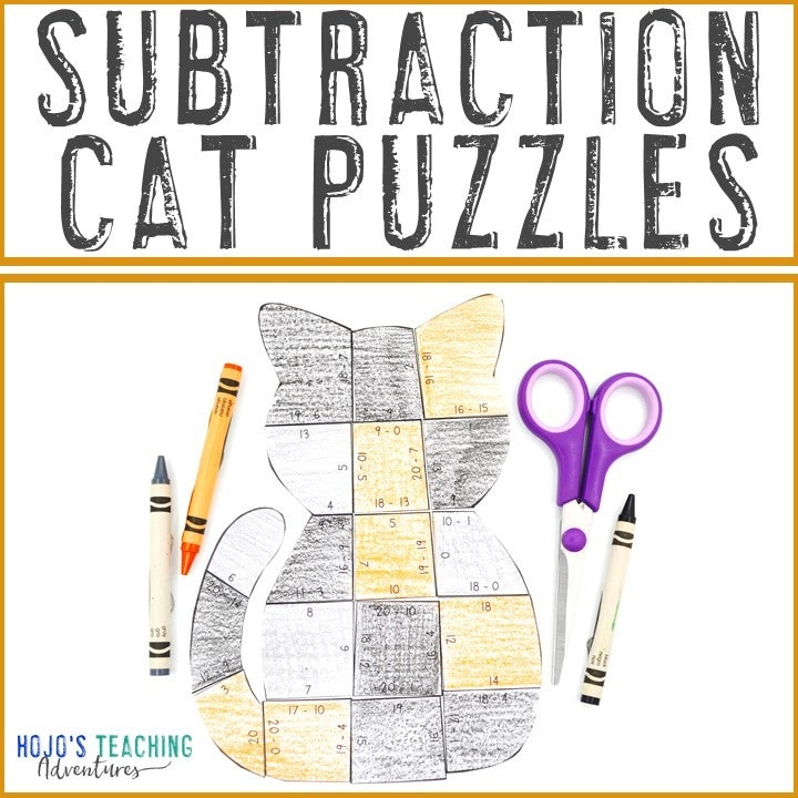 SUBTRACTION Cat Puzzles for 1st, 2nd, or 3rd Grade