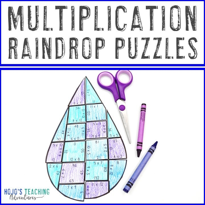 MULTIPLICATION Raindrop Puzzles for 3rd, 4th, or 5th Grade