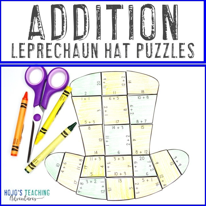 ADDITION Leprechaun Hat Puzzles for 1st, 2nd, or 3rd Grade