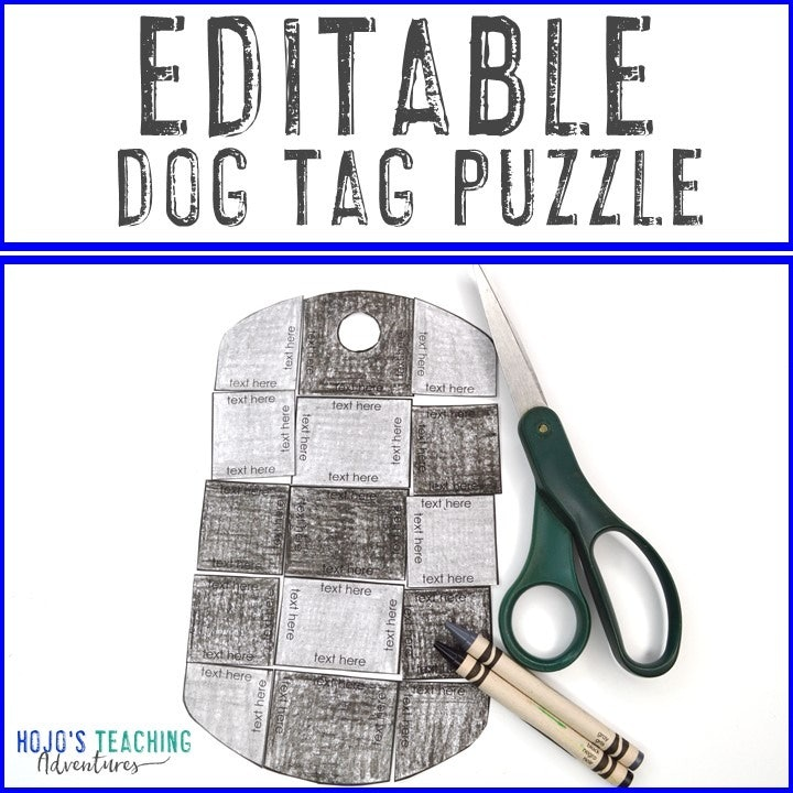 EDITABLE Dog Tag Puzzle for Elementary or Middle School Kids